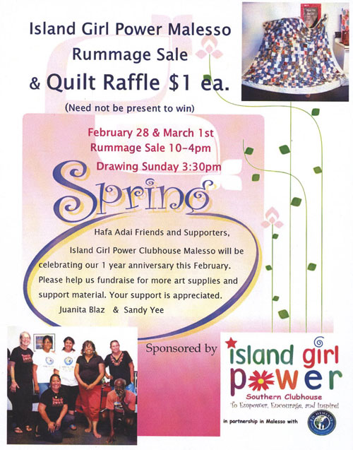 MALESSO Rummage Sale and Quilt Raffle